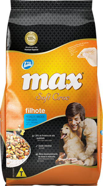 Ração Max Soft Croc Filhote, pedaços macios com leite