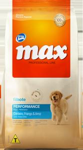Ração Max Professional Line Performance Filhotes Cordeiro, Frango e Arroz